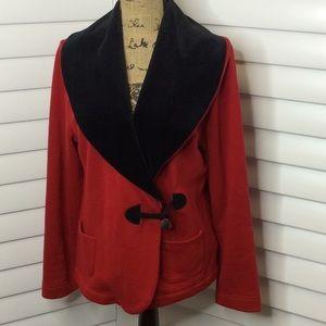 Lauren Ralph Lauren Red Jacket Black Velour Collar
